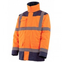 Parka HI-WAY haute visibilite 4 en 1 orange/marine