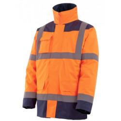 Parka HI-WAY haute visibilite 4 en 1 orange/marine